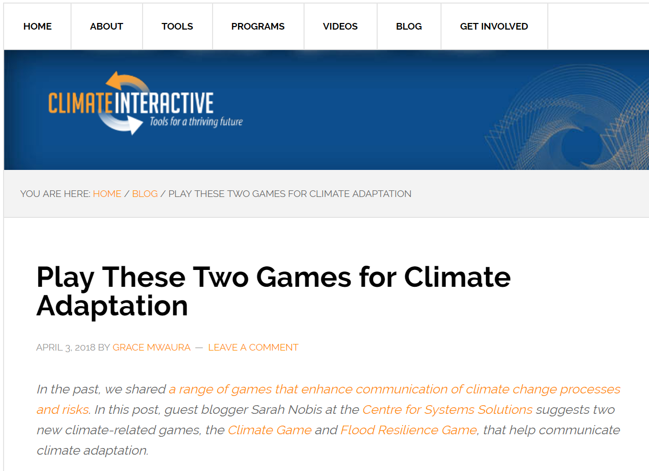 Publication of guest post on the Climate Interactive blog