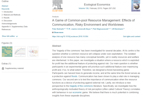 "The ""A Game of Common-pool Resource Management: Effects of Communication, Risky Environment and Worldviews"" article available online"